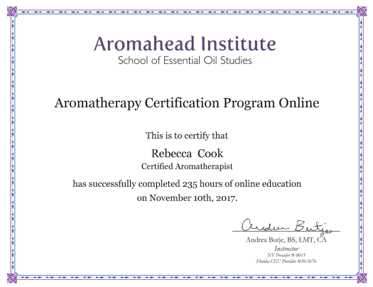 Aromatherapy Certification 11:2017